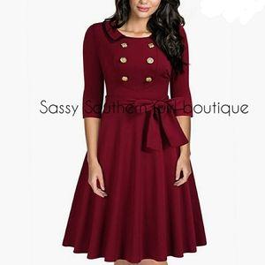 ⭐🆕Wine red retro button dress